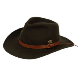 6 Bulk Wool Felt Outback Fedora Hats With Faux Leather Band In Olive