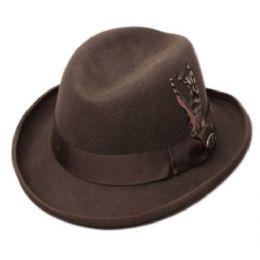 6 Bulk Homburg Wool Felts Hats In Brown