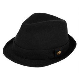 24 Bulk Wool Blend Fedora With Self Fabric Band In Black