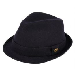 24 Bulk Wool Blend Fedora With Self Fabric Band In Navy