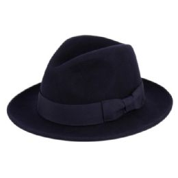 6 Bulk Milano Felt Fedora Hats With Grosgrain Band In Navy