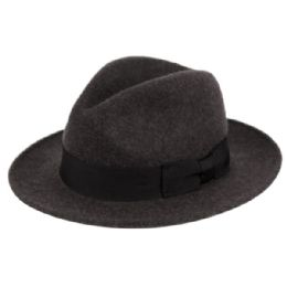 6 Bulk Milano Felt Fedora Hats With Grosgrain Band In Charcoal