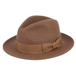 6 Bulk Milano Felt Fedora Hats With Grosgrain Band In Khaki