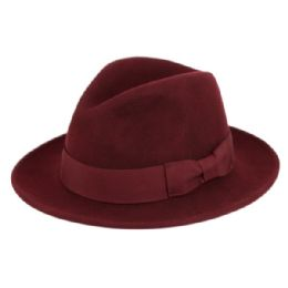 6 Bulk Milano Felt Fedora Hats With Grosgrain Band In Burgandy