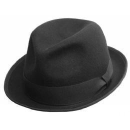 6 Bulk Crushable Wool Felt Fedora Hats In Black