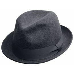 6 Bulk Crushable Wool Felt Fedora Hats In Gray