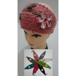 12 Bulk Hand Knitted Ear Band [flower With Lace]