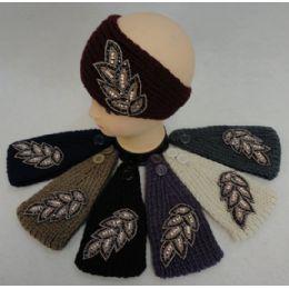 12 Bulk Hand Knitted Ear Band [jeweled Leaf]