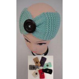 12 Bulk Hand Knitted Ear Band [lg Button] Loop