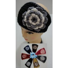 24 Bulk Hand Knitted Ear Band [twO-Color Flower]
