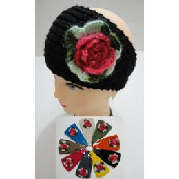 24 Bulk Hand Knitted Ear Band W/ Multicolor Flower