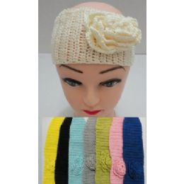 12 Bulk Loose Knitted Ear Band With Rose