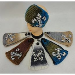 12 Bulk Wide Hand Knitted Ear Band [large Rhinestone Cross]