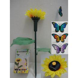 72 Bulk Solar Yard Stake With Sunflower [butterfly]