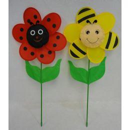 "60 Bulk 12.5"" Ladybug/bumblebee Flower Petal Wind Spinner With Leaves"