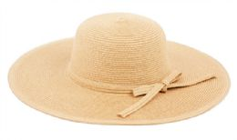 12 Bulk Braid Straw Floppy Hats With Self Fabric Band In Natural