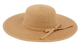 12 Bulk Braid Straw Floppy Hats With Self Fabric Band In Brown