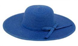 12 Bulk Braid Straw Floppy Hats With Self Fabric Band In Royal