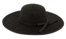 12 Bulk Braid Straw Floppy Hats With Self Fabric Band In Black