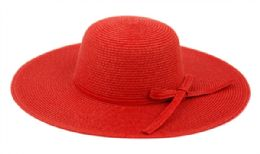 12 Bulk Braid Straw Floppy Hats With Self Fabric Band In Red