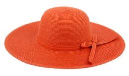 12 Bulk Braid Straw Floppy Hats With Self Fabric Band In Orange