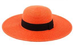 12 Bulk Braid Straw Floppy Hats With Grosgrain Band In Orange
