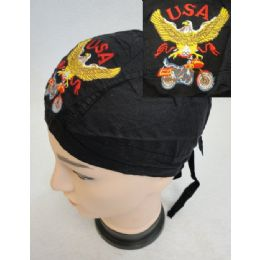 72 Bulk Embroidered Skull Cap [eagle With Bike]