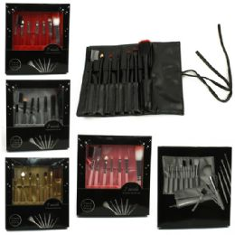 120 Bulk 7 Piece Brush Set In A Retail Box That Rolls Up And Ties Shut - Assorted Colors
