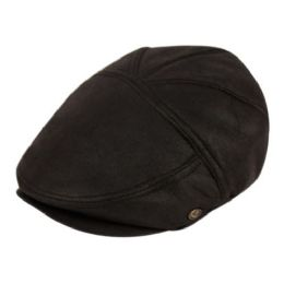 12 Bulk Faux Leather Vintage Ivy Caps In Black