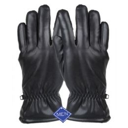 12 Bulk Men's Faux Leather Glove