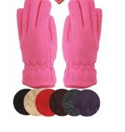 24 Bulk Ladies Thermal Fleece Glove Assorted Color