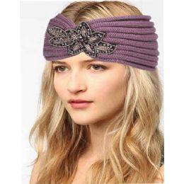 12 Bulk Fashion Knit Headband With Sequence Flower Trim