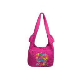 24 Bulk Peace Cotton Canvas Bag In Hot Pink