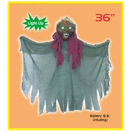 "12 Bulk 36"" Hanging Ghost With Light Up Eyes"