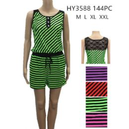 48 Bulk Womens Fashion Summer Striped Romper With Tied Waste