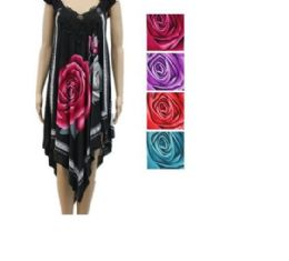 24 Bulk Womens Fashion Summer Dress High Low With Rose In Assorted Color