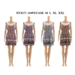 72 Bulk Womens Fashion Summer Romper With Lace Neck