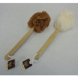 """72 Bulk 14"""" Bath Pouf Sponge With Wooden Handle"""