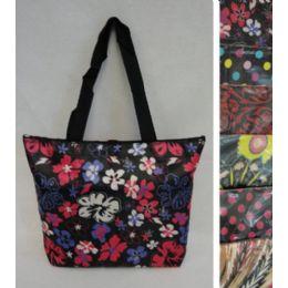 "24 Bulk 16""x12.5"" Nylon Printed Tote Bag [zippered]"