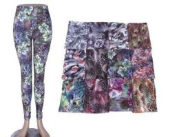 72 Bulk Womens Fashion Legging Assorted Styles, And Size Polyester Lycra Blend