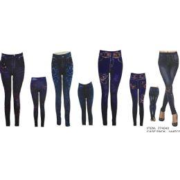 72 Bulk Womans Denim Like Leggings / Jeggings One Size Fits All