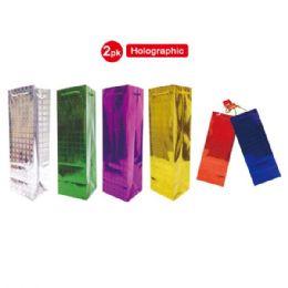 "72 Bulk 2 Pack Hologram Wine Bag 5x14.25x4"""