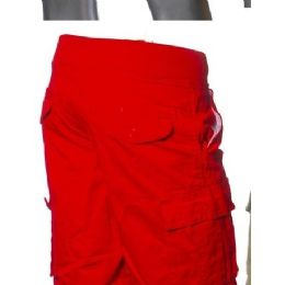 12 Bulk Men's Fashion Cargo Shorts In Red Only