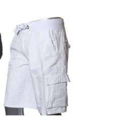 12 Bulk Men's Fashion Cargo Shorts In White Only