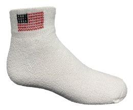 24 Bulk Yacht & Smith Kids Usa American Flag White Low Cut Ankle Socks, Size 6-8