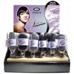 144 Bulk Salon Sensations Silver Color Proline Hairbrushes In Display Box