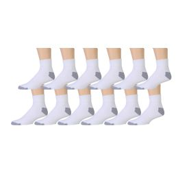 180 Bulk Yacht & Smith Men's Athletic Ankle Socks, Soft Cotton Terry Cushioned, King Size13-16 Solid White