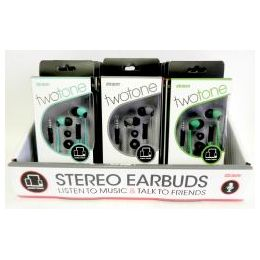 36 Bulk Wholesale Twotone Stereo Earbuds W/iN-Line Microphone
