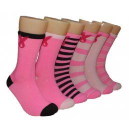 360 Bulk Women's Breast Cancer Awareness Crew Socks