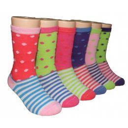 480 Bulk Girls Polka Dot And Stripe Crew Socks